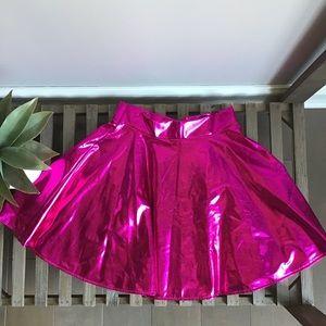 Hot Pink Metallic Skater Skirt